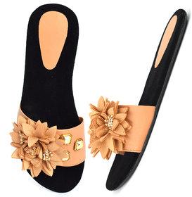 Aishwary Glams Women Black Stylish Slip on Fancy Flat Slippers