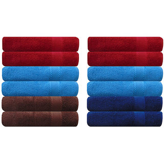 Akin Premium 500 GSM MultiColor Cotton Hand Towels Set Of 12