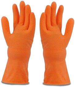 Multipurpose Non-Slip Rubber Reusable Gardening Dishwashing Scrubbing Cleaning Hand Gloves (1 Pair)