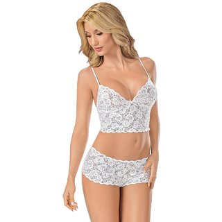 Sexy Lace Lingerie Underwear Set  Exotic Lace Open Bra Suits  Bra Panty Set Wrapped Chest Lace Sexy Lingerie  White
