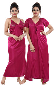 Be You Satin Solid Women Nighty with Robe (Magenta , Free Size)