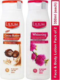 Lilium Herbal Cocoa Butter With Whitening Face Body Lotion 350ml Pack Of 2