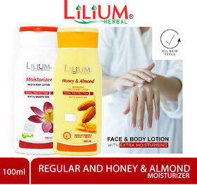 Lilium Herbal Honey  Almonds With Regular Moisturizer Face  Body Lotion 100ml Each Pack of 2
