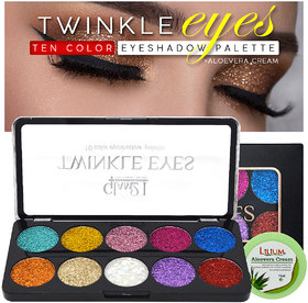 Glam21 10 Color Glitter Eyeshadow for Eyes Beauty with Lilium Aloevera Cream