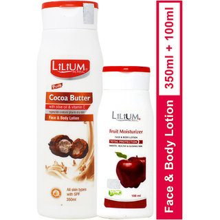 Lilium Herbal Cocoa Butter With Fruit Moisturizer Face Body Lotion 350ml 1