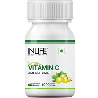 INLIFE Natural Vitamin C Amla Extract for Immunity, for Men Women Supplement, 1000mg - 60 Vegetarian Capsules