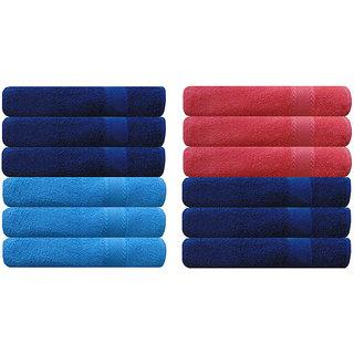 Akin Premium 500 GSM MultiColor Cotton Hand Towels Set Of 12