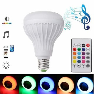 BEE GEE LED Bulb with Speaker, E27 LED Music Light Bulb with Bluetooth RGB Changing Color Bulb with Remote