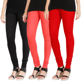 HRINKAR BLACK PEACH RED Soft Cotton Lycra Plain girls leggings combo Pack of 3 Size - L, XL, XXL - HLGCMB0622-XXL