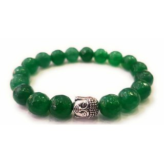 Shubh Sanket Vastu Crsytal Green Aventurine Diamond Cut (8 mm Beads) Bracelet 3 inches
