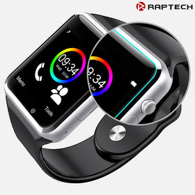 Raptech A1 Black Bluetooth Smart Watch with Camera and Sim Card Support for All Smartphones Assorted Colors