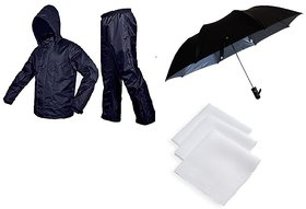 Blue Rain Coat With Lower and Cap + Black Umbrella + 3 Pc Of White Handkerchief (Bluh-01)