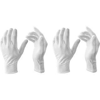EXCLUSIVE WHITE Cotton HAND Gloves (WhiteFree Size) Pack of 2 Pair