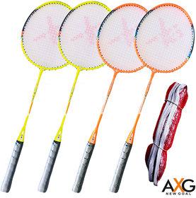 AXG New Goal Service Badminton KIt (Set of 4 Rackets With Net)