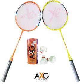AXG New Goal AX-8 Inexorable Aluminium Badminton Kit (2 Racquets, 3 Shuttles) Badminton Kit