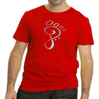 HEYUZE Cotton Male Men's Round Neck Half Sleeve Foot Prints Printed T-Shirt