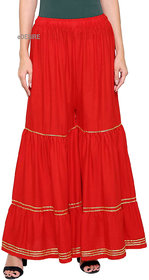 eDESIRE Women's Fashion Unique and Stylish Rayon Red Flared Palazzo Pants