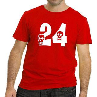 HEYUZE Cotton Male Men's Round Neck Half Sleeve Lucky Number Twenty Four 24  Printed T-Shirt