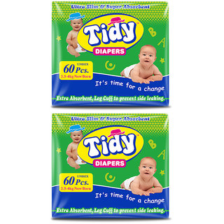 Tidy Baby Diaper New Born Pack of 60 pcs - Pack of 2