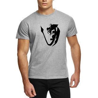 HEYUZE Cotton Male Men's Round Neck Half Sleeve Initial Letter Alphabet V Dragon Printed T-Shirt