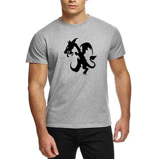 HEYUZE Cotton Male Men's Round Neck Half Sleeve Initial Letter Alphabet X Dragon Printed T-Shirt