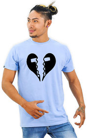 HEYUZE Cotton Male Men's Round Neck Half Sleeve Initial Letter Alphabet T Heartbreak Printed T-Shirt
