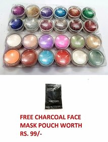 Combo of 12 Pc. Thick & 12 Pc Thin Sparkling Nail Art Glitter Powder Set Multicolor (24 Pcs. Set) With Free Gift