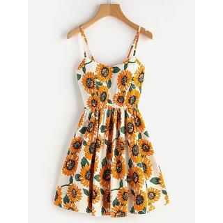 Crisscross Back A Line Sunflower Print Cami Dress