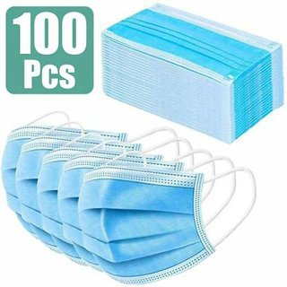 Pack of 100 3 Ply Disposable Surgical Face Mask  Blue, free size  By IIk Collection Masks