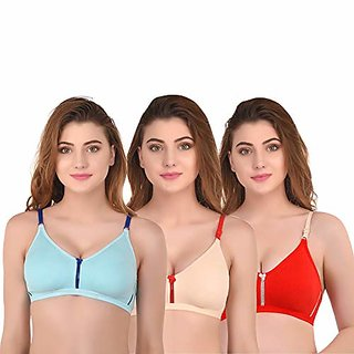 Cravin Non Padded Non Wired Cotton T-Shirt Bra for Girls Women's Combo (Pack of 3)