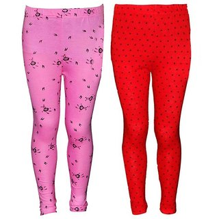 AJCreation Super Soft Cotton Printed leggings for girls Combo pack of 2 (Pink , Red, 5 Years-6 Years)
