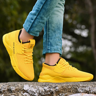 Layasa Yellow Lace-up Smart Casual Shoes For Men