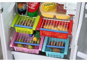 Adjustable Expandable Space Saver Fridge Organizer and Storage Basket (Set of 4)