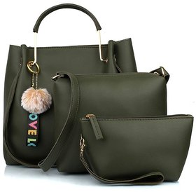 TMN Green Combo of Handbag with sling bag and Cosmetic Pouch-CB-GRN3