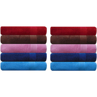 Akin Premium 500 GSM MultiColor Cotton Hand Towels Set Of 10