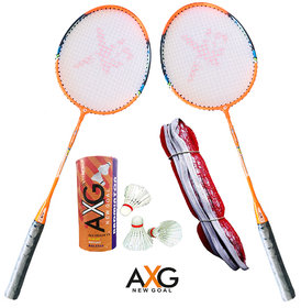 AXG New Goal AX-8 Rugged Aluminium Badminton Set (2 Racquets, 3 Shuttles, 1 Net) Badminton Kit