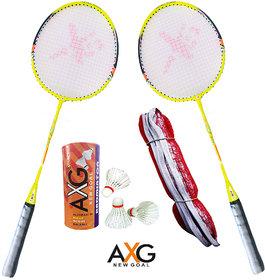 AXG New Goal AX-8 Arduous Aluminium Badminton Set (2 Racquets, 3 Shuttles, 1 Net) Badminton Kit