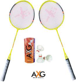 AXG New Goal AX-8 Stern Aluminium Badminton Kit (2 Racquets, 3 Shuttles) Badminton Kit