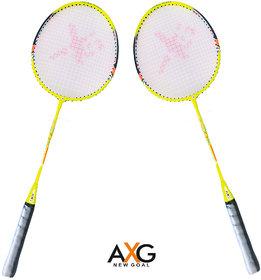 AXG new goal AX-8 Stylish swing Yellow, Black Strung Badminton Racquet  (Pack of 2, 100 g)