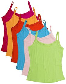Pure Cotton Plain Multi-Colored Camisole Slip for Girls  Kids (Pack of 6) By Low Price Bazaar