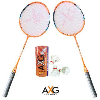AXG New Goal AX 8 Robust Aluminium Badminton Set  2 Racquets, 3 Shuttles  Badminton Kit