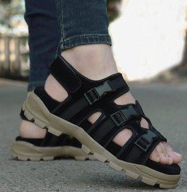 Way Beach Black Velcro Sandals For Men