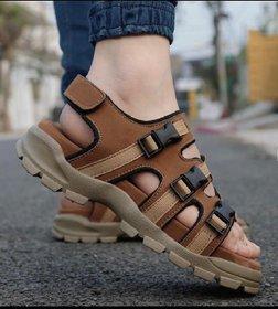 Way Beach Tan Velcro Closure Sandals For Men