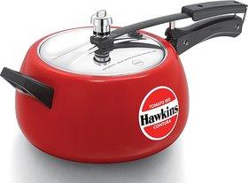 Hawkins Ceramic Coated Contura Inner Lid 5 L Pressure Cooker Red(Aluminium)