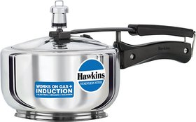 Hawkins Stainless Steel 2 L Induction Bottom Pressure Cooker(Stainless Steel)