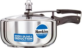 Hawkins Stainless Steel HSS3W 3 L Induction Bottom Pressure Cooker(Stainless Steel)