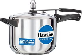 Hawkins Stainless Steel 5 L Induction Bottom Pressure Cooker(Stainless Steel)