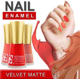 Kremlin Premium Quality Velvet Matte Nail Paint Pack of 3 (10-11-12)