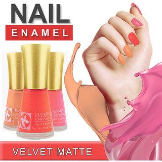 Kremlin Premium Quality Velvet Matte Nail Paint Pack of 3 (7-8-9)
