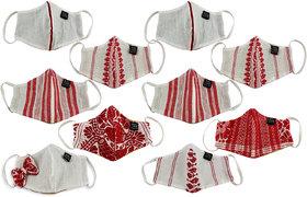 HEYUZE Unisex Cotton Assamese Gamusa Resuable Washable Anti-Dust Face Mask (Pack of 10)